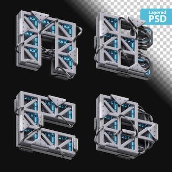 3d metallische buchstaben a, b, c, d mit glüheffekt