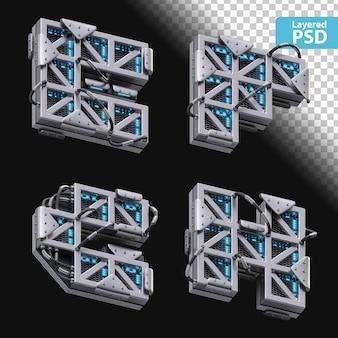 3d metallische buchstaben e, f, g, h mit glüheffekt