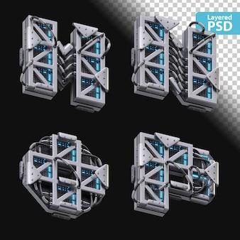 3d metallische buchstaben m, n, o, p mit glüheffekt