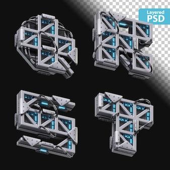 3d metallische buchstaben q, r, s, t mit glüheffekt