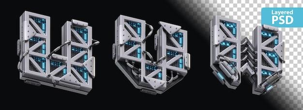 3d metallische buchstaben u, v, w mit glüheffekt