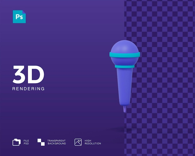 3d-mikrofon-rendering isoliert