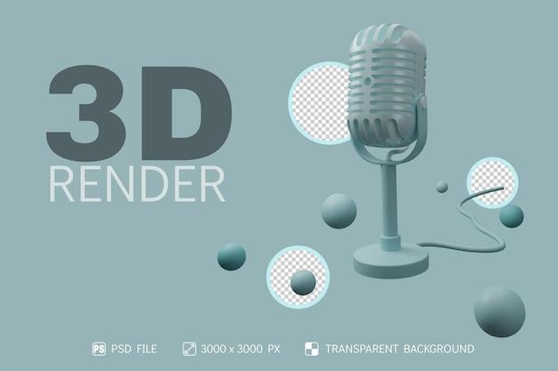 3d-mikrofon, ständer, kugel und kabel mit isoliertem hintergrund