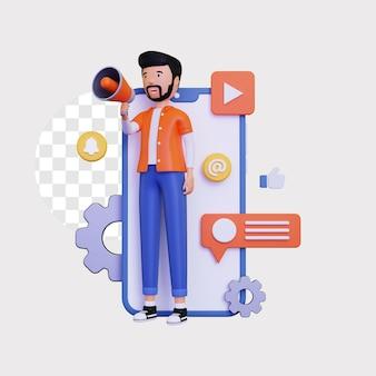 3d mobile marketing mit einem männlichen charakter, der einen megaphonlautsprecher hält