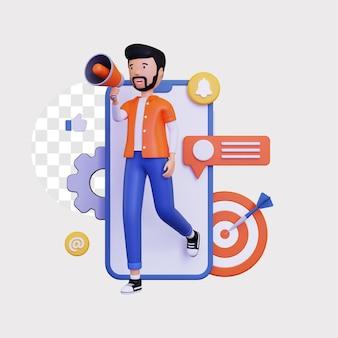 3d mobile marketing mit einem männlichen charakter, der einen megaphonlautsprecher und eine dartscheibe hält