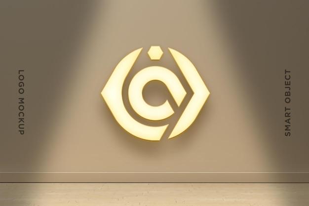 3d mockup logo neon auf brauner wand