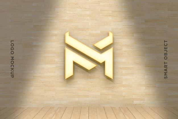 3d mockup logo neon auf holzwand
