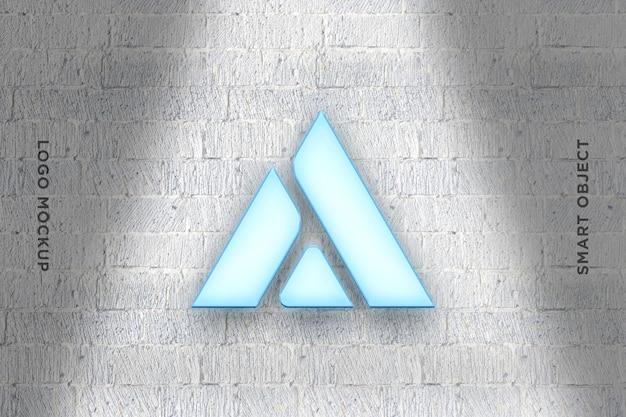 3d mockup logo neon auf mauer-2