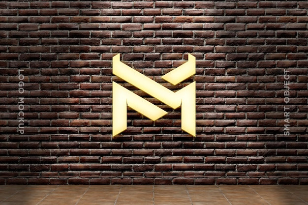3d mockup logo neon auf mauer