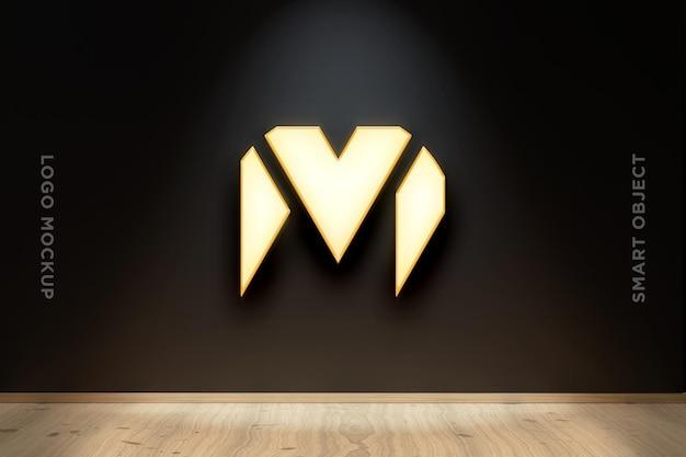 3d mockup logo neon auf schwarzer wand