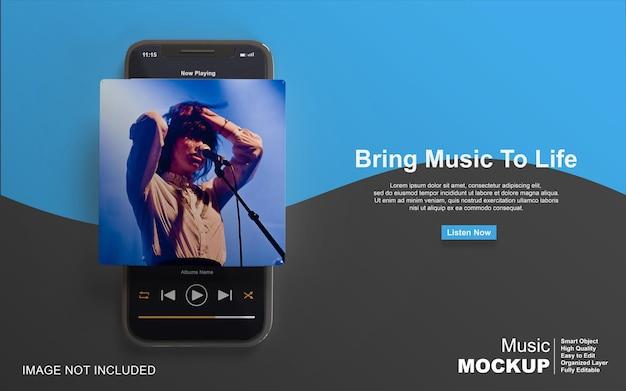 3d-mockup-musikplayer-design auf dem smartphone für social-media-beiträge