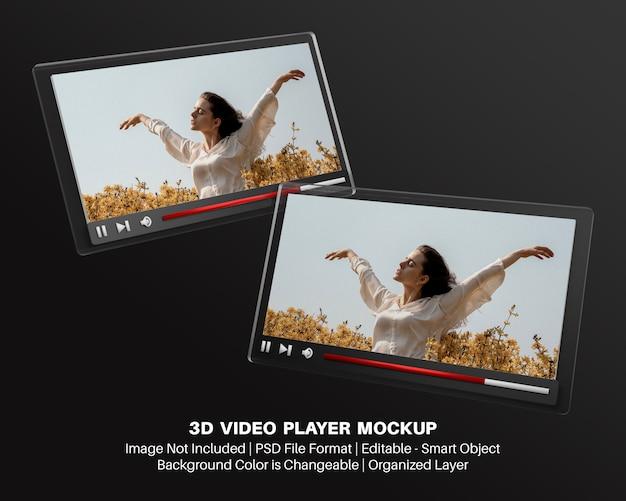 3d-modell der video-player-oberfläche