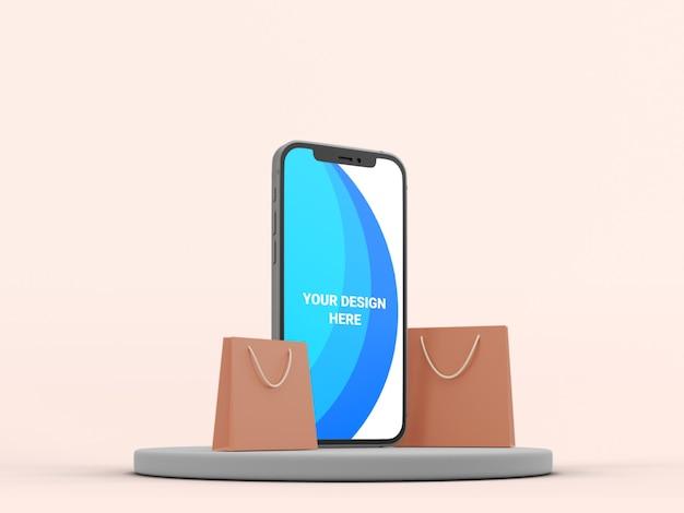 3d-modell-smartphone mit papiertüte isoliert