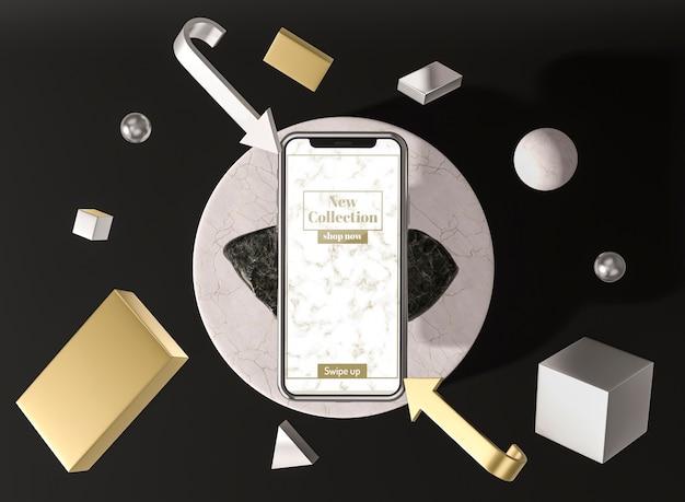 3d-modell-smartphone mit schatten