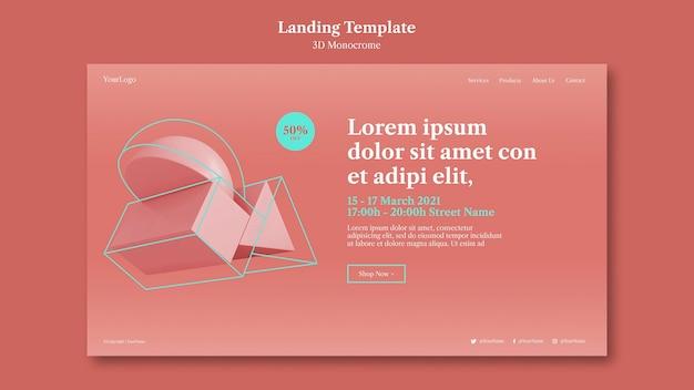 3d monochrome formen landingpage