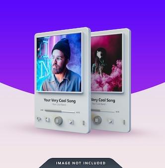 3d music player design für social media post