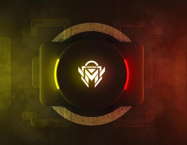 3d neon logo modell mit gelbem und rotem reflektierendem neonlicht