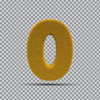 3d-nummer 0 aus grasgelb