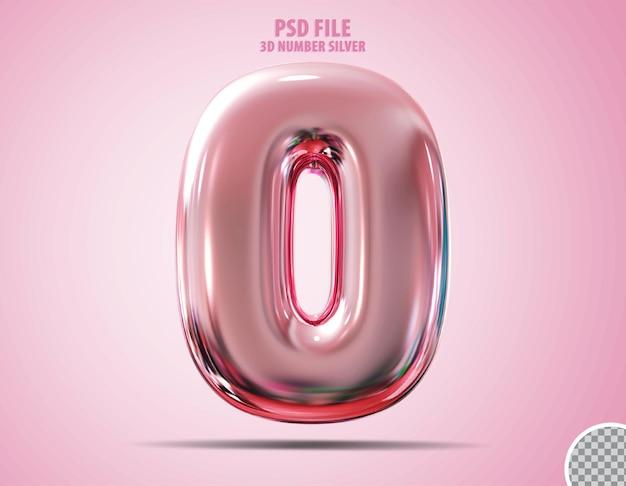 3d nummer 0 rosa luxus-rende