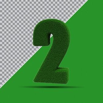 3d nummer 2 aus grasgrün