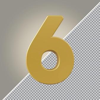 3d nummer 6 goldener luxus