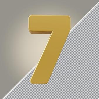 3d nummer 7 goldener luxus