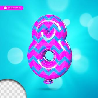 3d nummer 8 heliumfolienballon