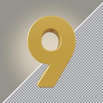 3d nummer 9 goldener luxus