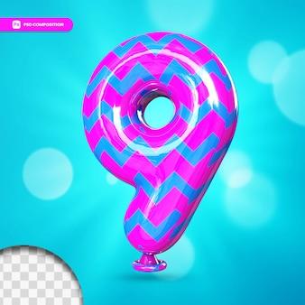 3d nummer 9 heliumfolienballon