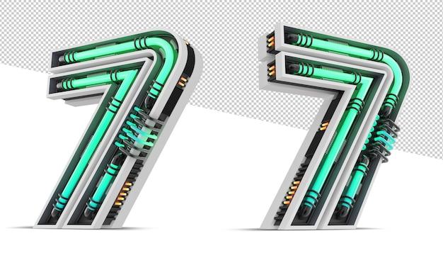 3d-nummer mit grünem neonlichteffekt