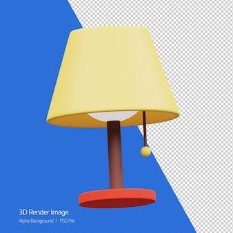 3d-objekt-rendering des lampensymbols isoliert auf weiss.