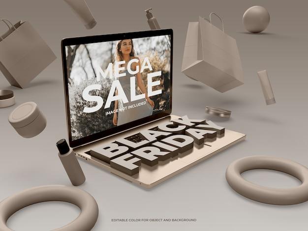 3d-objekte und laptop für black friday
