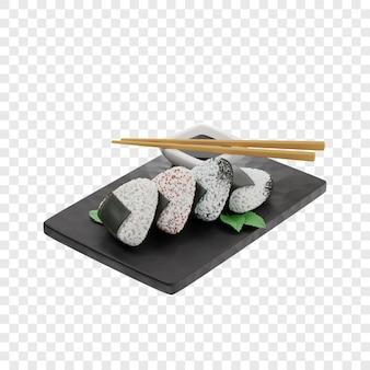 3d onigiri auf einem schwarzen schieferbrett neben essstäbchen sojasauce traditionelles japanisches gericht
