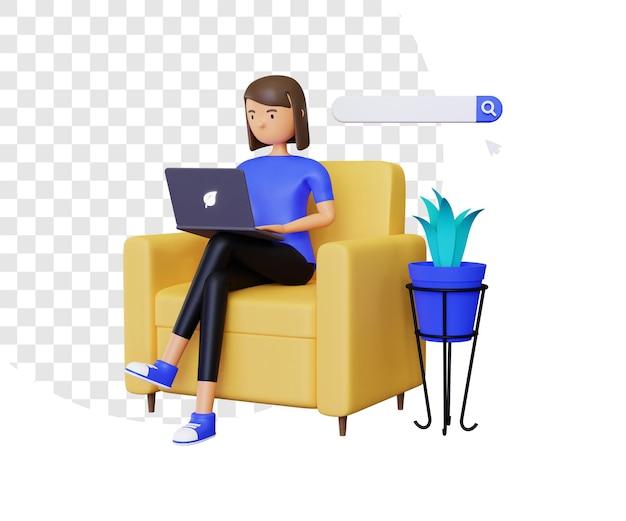 3d-online-browsing mit weiblicher figur und laptop