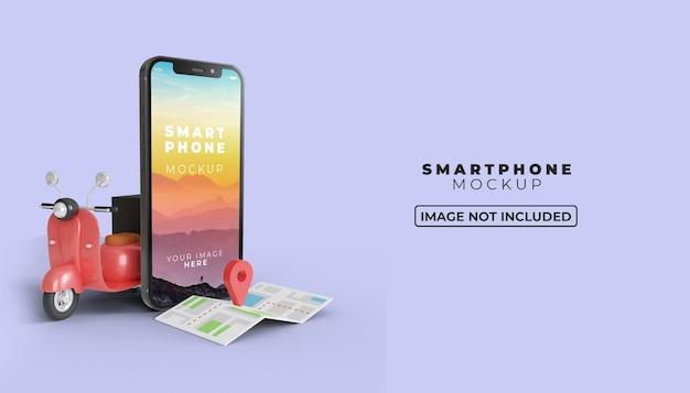 3d-online-lieferung auf dem handy mit smartphone-bildschirmmodell