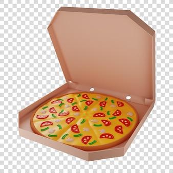 3d-pizza mit pilzen in einem karton pizzalieferung isolierte darstellung 3d-rendering