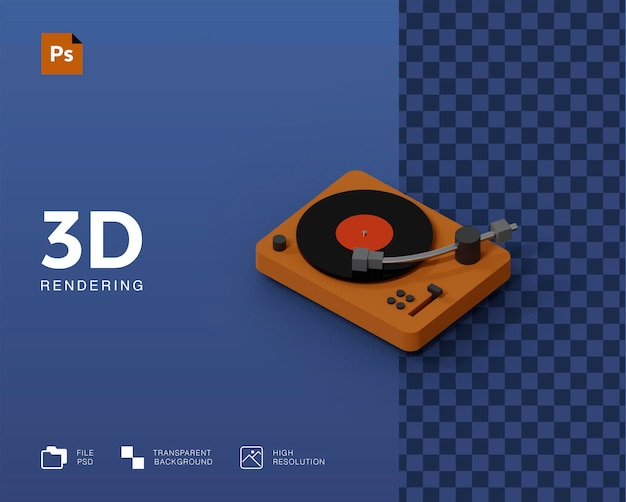 3d-plattenspieler-darstellung Premium PSD