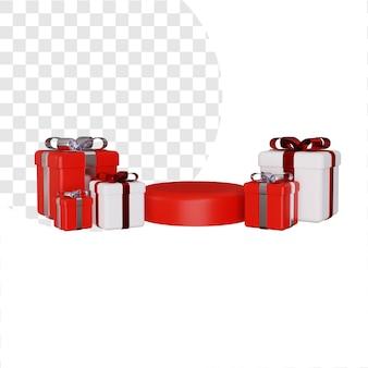 3d-podium für produktwerbung mit geschenkbox