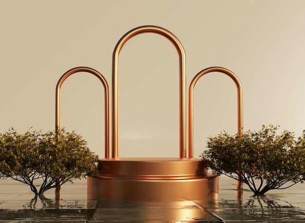 3d-podium mit goldenen ringen und flüssigem wasser mit pflanzenmodell zur produktpräsentation