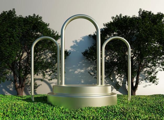 3d-podium mit silbernen ringen und fußballplatzgras mit baummodell zur produktpräsentation