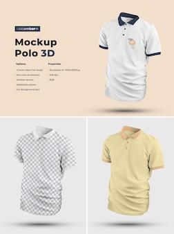3d polo mockups. das design ist einfach beim anpassen des bilddesigns und der farbe von t-shirt, manschette, knopf und kragen