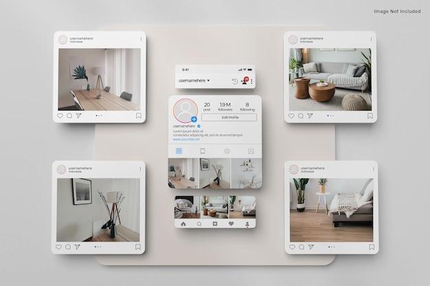 3d-postmodell der instagram-schnittstelle