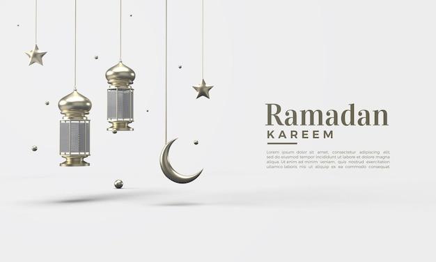 3d ramadan kareem mit goldenen lichtern und goldenem sternmond