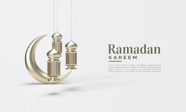 3d ramadan kareem mit hängenden lichtern und einem goldenen mond