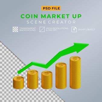 3d realistische dollarmünze mit pfeil nach oben