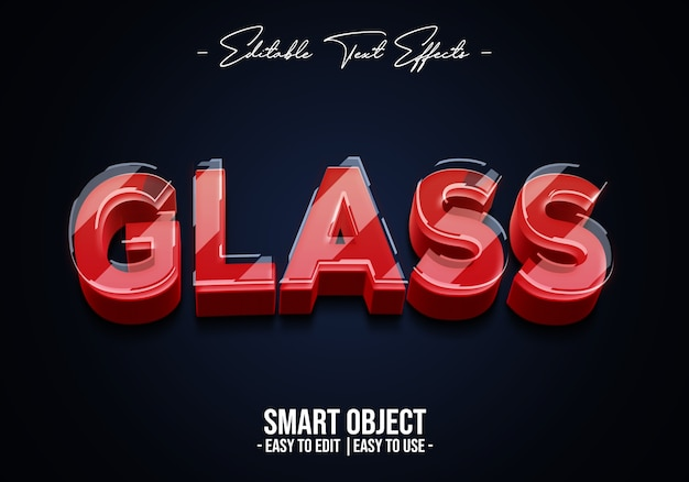 3d realistische glas-textstil-effektvorlage