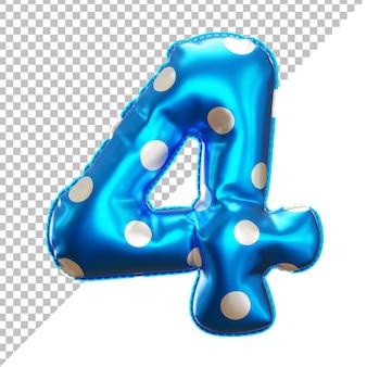 3d realistische nummer 4 tupfen heliumfolienballon