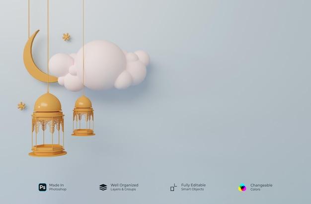 3d realistische symbole des islamischen ramadhan kareem und des eid mubarak