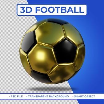 3d realistischer goldener und schwarzer metallischer fußball 3d-rendering isoliert