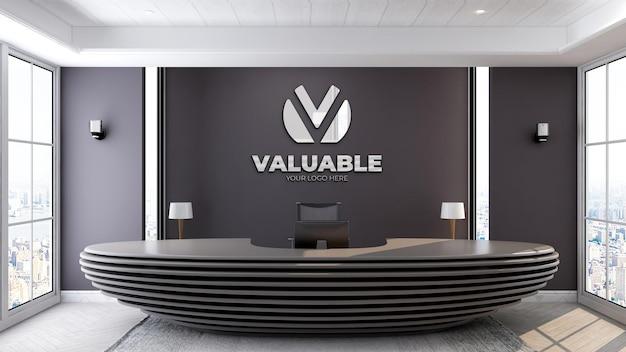 3d-realistisches logo-mockup in der bürorezeption oder an der rezeption